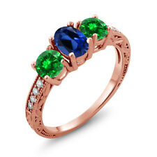 2.70 Ct Simulated Sapphire Simulated Emerald 18K Rose Gold Plated Silver Ring