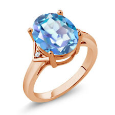 4.02 Ct Mystic Quartz White Created Sapphire 18K Rose Gold Plated Silver Ring