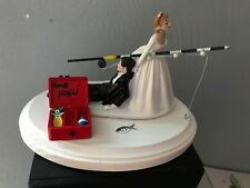 Cake Topper Wedding Bridal Bride Groom Going Gone Fishing Theme