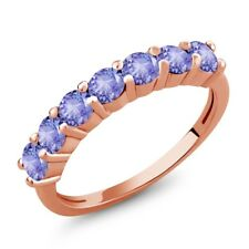 1.26 Ct Round Blue Tanzanite 18K Rose Gold Plated Silver Ring