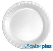 "White Disposable Polystyrene Plates 7"" 9"" 10"" Foam Party Wedding Catering Pactiv"