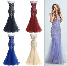 Sexy Mermaid Celebrity Evening Women Gown Long Beads Prom Cocktail Dresses 12 14