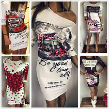 Sexy Womens Letter Floral Print Celeb Party Evening Clubwear Bodycon Mini Dress