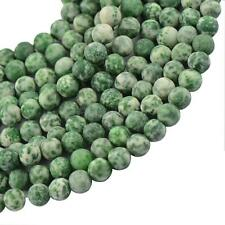 Frost Green Jade Gemstone Round Spacer Loose Beads Necklace Jewelry Making 15""