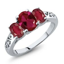 2.45 Ct Oval Red Created Ruby African Red Ruby 14K White Gold Ring