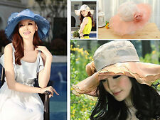 New Women Dress Church Wedding Kentucky Derby Wide Brim Hat 5 color Organza
