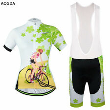Women Cycling Jersey Team Wear Bike Bicycle Short Sleeve Jersey+Bib Shorts Kit
