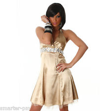 Sexy Dress Satin Rhinestone Party Evening Cocktail Dress Gold Halter Neck