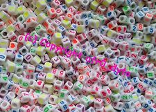100 to 1000 White & Coloured Mixed Numbers Cube Beads 6mm