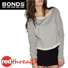 BONDS Womens Jumper Cropped Long Sleeve Top Crop Sweater Grey Tweed Texture Size