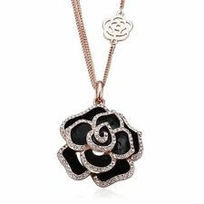 NWT Statement Women 18K Gold Plated Chain Crystal Rose Flower Necklace & Pendant