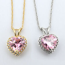 14k Yellow/White Gold Simulated Pink Tourmaline & CZ 9mm Heart Halo Necklace