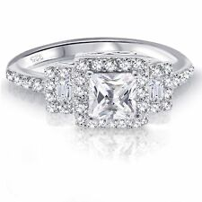 White Gold Princess Cut Promise Engagement Wedding Sapphire Clear CZ Ring