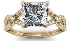 Princess Cut diamond in a Brawny Prong Setting, Fancy SPLIT SHANK bezel set side