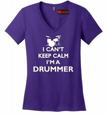 I Can't Keep Calm Im A Drummer Funny Ladies V-Neck Shirt Music Band Rock Roll Z5