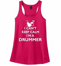 I Can't Keep Calm I'm A Drummer Funny Ladies Tank Top Music Band Rock n Roll Z6