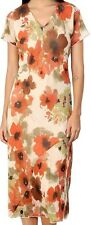 Adini Soft Crushed Geogette Lined Floral Print Short Sleeve Dress in Amber/Cream