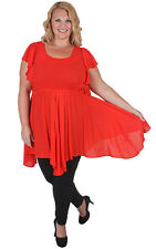 New Plus Size Red Hanky Hem Flare Out Top | Sizes 18 20 22 24 26 28