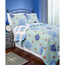 NEW Twin Full Queen King Blue Purple White Medallion 3 pc Quilt Set Coverlet NWT