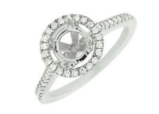 14K White Gold Halo Semi Mount Solitaire Diamond Engagement Bridal Ring 0.52ct