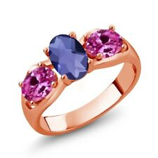 1.65 Ct Oval Checkerboard Blue Iolite Pink Created Sapphire 14K Rose Gold Ring