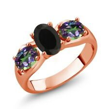 1.80 Ct Oval Black Onyx Green Mystic Topaz 18K Rose Gold Plated Silver Ring