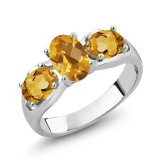 1.50 Ct Oval Checkerboard Yellow Citrine 925 Sterling Silver Ring