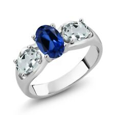 1.76 Ct Oval Blue Simulated Sapphire Sky Blue Aquamarine 18K White Gold Ring