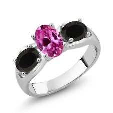 1.68 Ct Oval Pink Created Sapphire Black Onyx 925 Sterling Silver Ring