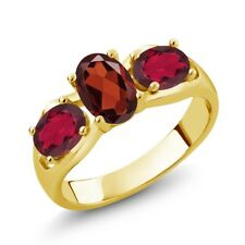 1.90 Ct Oval Red Garnet Red Mystic Topaz 18K Yellow Gold Plated Silver Ring