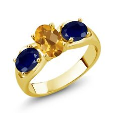 1.80 Ct Oval Checkerboard Yellow Citrine Blue Sapphire 14K Yellow Gold Ring