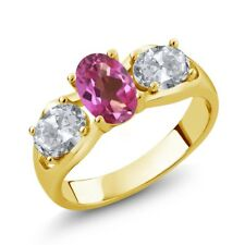 1.80 Ct Oval Pink Mystic Topaz White Topaz 18K Yellow Gold Ring