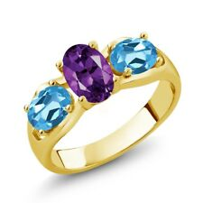 1.75 Ct Oval Purple Amethyst Swiss Blue Topaz 18K Yellow Gold Plated Silver Ring