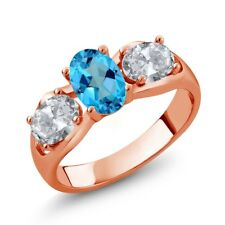 2.00 Ct American Blue Mystic Topaz White Topaz 18K Rose Gold Plated Silver Ring