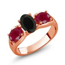 2.00 Ct Oval Black Onyx Red Ruby 18K Rose Gold Ring