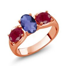 1.85 Ct Oval Checkerboard Blue Iolite Red Ruby 14K Rose Gold Ring
