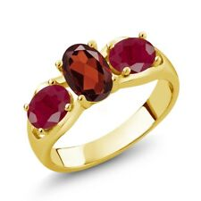 2.10 Ct Oval Red Garnet Red Ruby 18K Yellow Gold Plated Silver Ring
