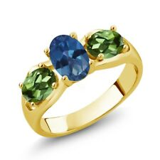 1.80 Ct Oval Royal Blue Mystic Topaz Green Tourmaline 14K Yellow Gold Ring