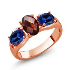 1.80 Ct Oval Checkerboard Red Garnet Blue Simulated Sapphire 14K Rose Gold Ring