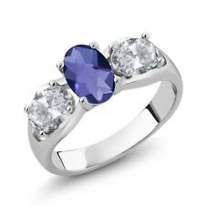 1.65 Ct Oval Checkerboard Blue Iolite White Topaz 925 Sterling Silver Ring
