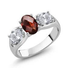 1.80 Ct Oval Checkerboard Red Garnet White Topaz 18K White Gold Ring