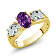 1.61 Ct Purple Amethyst Sky Blue Aquamarine 18K Yellow Gold Plated Silver Ring
