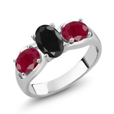 2.27 Ct Oval Black Sapphire Red Ruby 925 Sterling Silver Ring