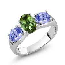1.60 Ct Oval Green Tourmaline Blue Tanzanite 925 Sterling Silver Ring