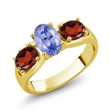 1.75 Ct Oval Blue Tanzanite AAAA Red Garnet 18K Yellow Gold Plated Silver Ring