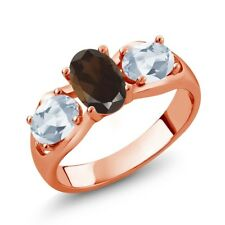 1.75 Ct Oval Brown Smoky Quartz Sky Blue Topaz 18K Rose Gold Plated Silver Ring