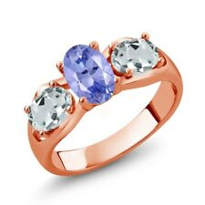 1.61 Ct Oval Blue Tanzanite Sky Blue Aquamarine 18K Rose Gold Ring