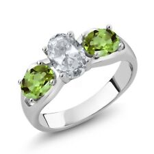 1.95 Ct Oval White Topaz Green Peridot 925 Sterling Silver Ring
