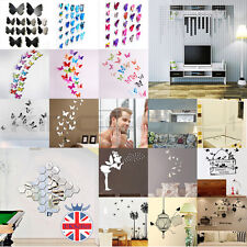 DIY Silver Modern Mirror Wall Stickers Rectangle Butterfly Decal Home Decoration