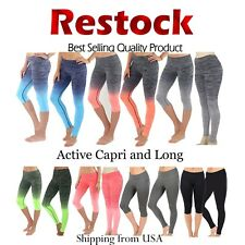 Womens High Waist Yoga Pants Moisture Wicking Ombre Athletic Leggings S.M. L. XL